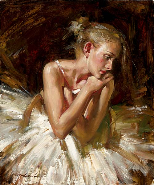 THOUGHTS BEFORE THE DANCE Hand Embellished Giclee on Hand-Textured Canvas 24 x 20 Edition Size: 50 by Andrew Atroshenko   THOUGHTS BEFORE THE DANCE